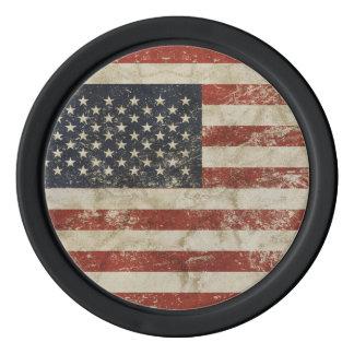 Jetons de poker d'argile avec le drapeau grunge