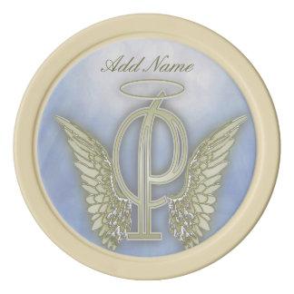 Jetons De Poker Lettre P de monogramme d'ange de poche