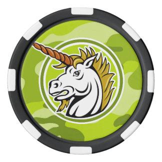 Jetons De Poker Licorne fâchée ; camo vert clair, camouflage