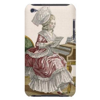 Jeune femme étudiant la musique à son clavecin, pl coques iPod touch