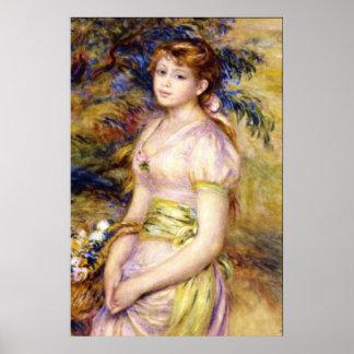 Jeune fille avec un panier des fleurs par Renoir Poster
