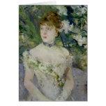 Jeune fille dans une robe de boule, 1879 carte de vœux