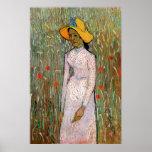 Jeune fille se tenant aux champs de blé - Van Gogh Posters
