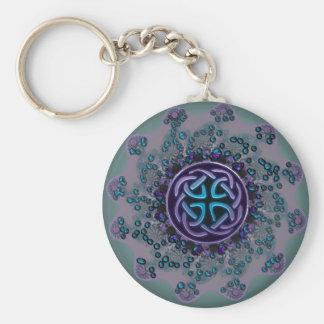 Jeweled keltischer FraktalMandala Standard Runder Schlüsselanhänger