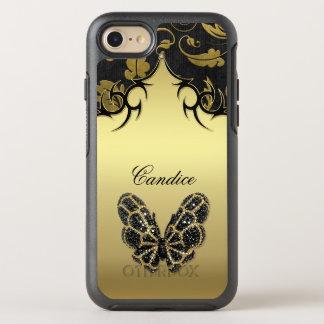 Jeweled Schmetterlings-Damast OtterBox Symmetry iPhone 8/7 Hülle