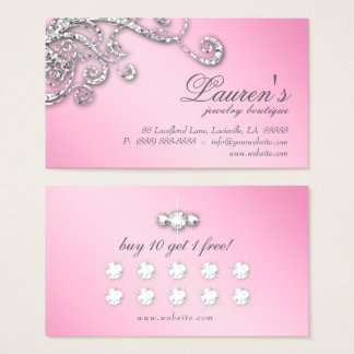 Jewelry Swirl Loyalty Card Glitter Diamonds Pink Visitenkarte
