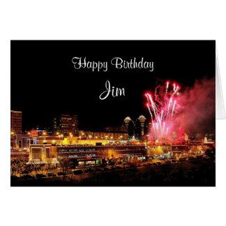 Jim-Geburtstags-Feuerwerks-Kansas- Karte