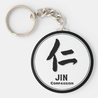 JIN-Mitleid bushido Vorzug-Samurai-Kanji Standard Runder Schlüsselanhänger