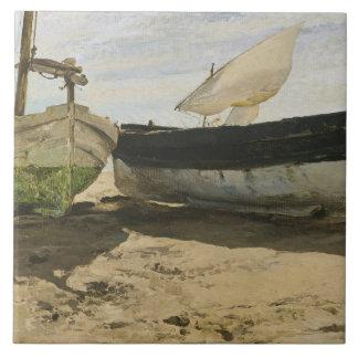 Joaquin Sorolla - Fischerboote auf dem Strand Fliese