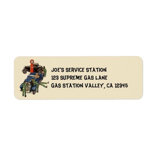 Joes voller Service-Tankstelle, Vintages Geschäft Rückversand-Adressaufkleber