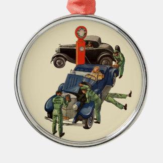 Joes voller Service-Tankstelle, Vintages Geschäft Rundes Silberfarbenes Ornament