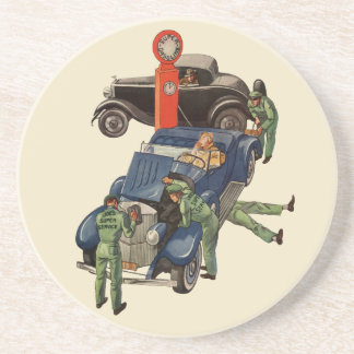 Joes voller Service-Tankstelle, Vintages Geschäft Sandstein Untersetzer