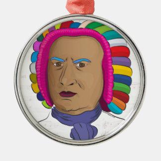Johann Sebastian Bach in der vibrierenden Rundes Silberfarbenes Ornament - johann_sebastian_bach_in_der_vibrierenden_ornament-r6002d81139c54e7187a1916fa116333a_x7s2s_8byvr_324