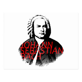 Johann Sebastian Bach-Porträt und rote Buchstaben Postkarte