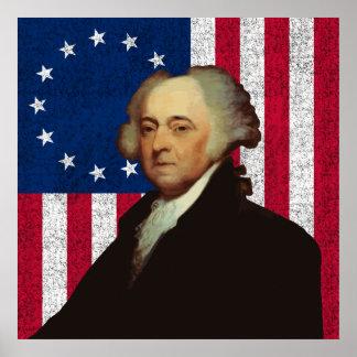 John Adams und die amerikanische Flagge Poster