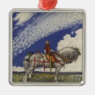 John Bauer - in die weite Welt Quadratisches Silberfarbenes Ornament