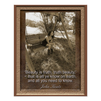 John Keats-Zitat - Kunst-Druck - Schönheit ist Poster