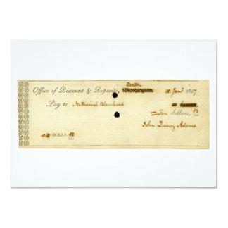John Quincy Adams VORLAGE unterzeichneter Karo 12,7 X 17,8 Cm Einladungskarte
