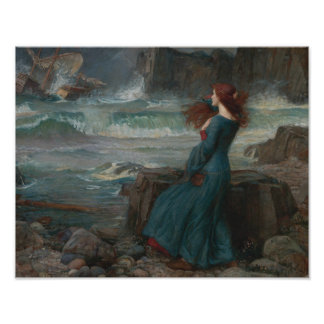 John William Waterhouse - Miranda - der Sturm Poster