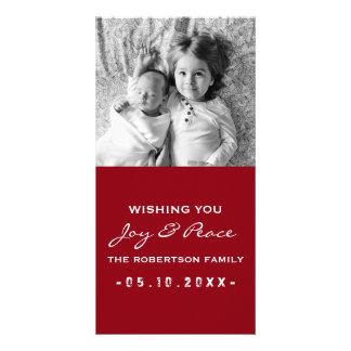 Joie et paix - blanc rouge de Noël de photo Cartes De Vœux Avec Photo