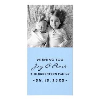Joie et paix - noir bleu de Noël de photo Cartes De Vœux Avec Photo