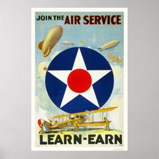 Joignez le service aérien affiche