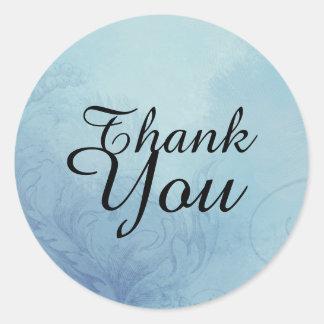 Joint bleu élégant de faveur de Merci Sticker Rond