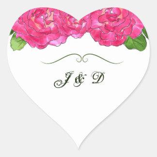 Joint rose d'enveloppe de fleur sticker cœur