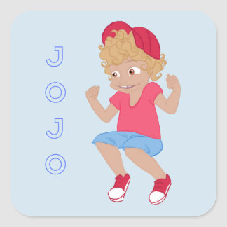 JoJo - lt Blue Bkgrd Quadratischer Aufkleber