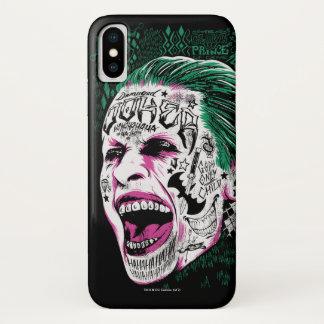 Joker-Kopf-Skizze der Selbstmord-Gruppe-| lachende iPhone X Hülle