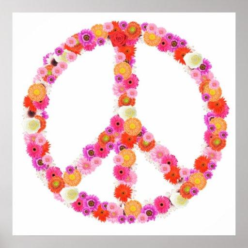 Jolie copie de signe de paix de fleur posters