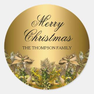 Jolis feuillage d'or et autocollant de Noël d'arc