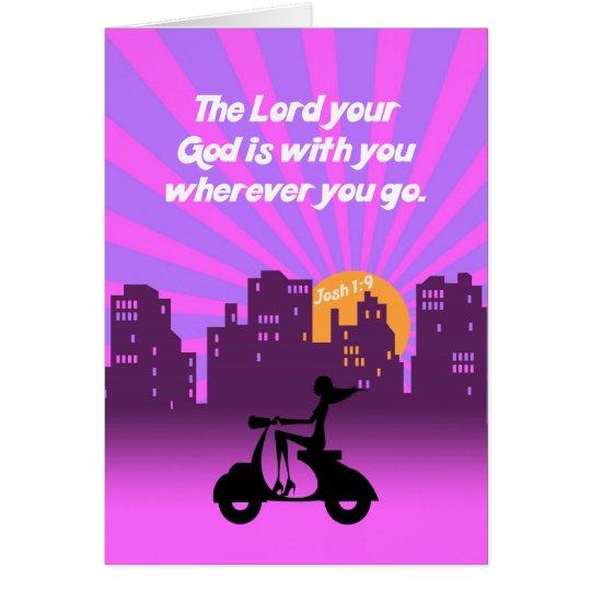 Joshua-1:9 Mädchen auf Roller w/Skyline - Grußkarte