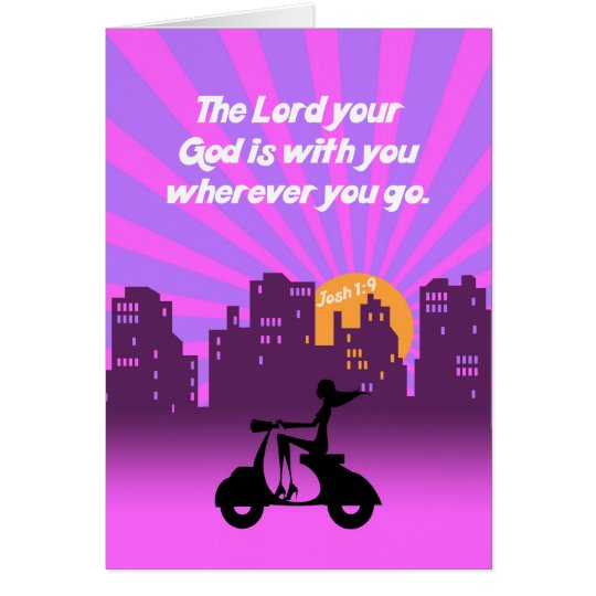 Joshua-1:9 Mädchen auf Roller w/Skyline - Karte