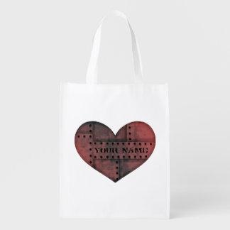 Jour de Valentines punk industriel sale de coeur Sac D'épicerie