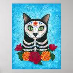 Jour du chat mort, affiche d'art de chat de crâne