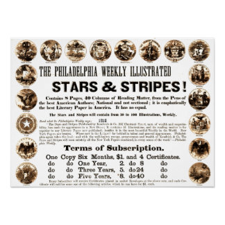 Journal hebdomadaire de 1918 étoiles et de rayures poster