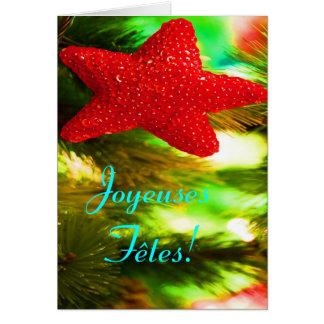 Joyeuses Fêtes und bonne année roter Stern III Grußkarte