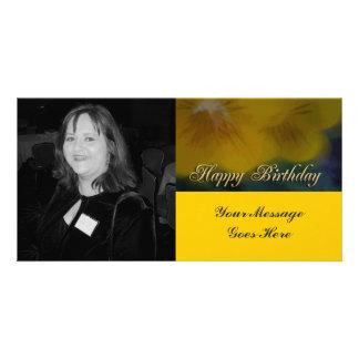 joyeux anniversaire de fleur jaune photocarte personnalisée