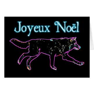 Joyeux Noёl - elektrischer Wolf Grußkarte