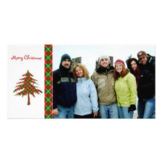 Joyeux Noël d'arbre à motifs de losanges rouge et  Photocartes Personnalisées