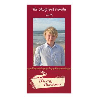 Joyeux Noël d'orignaux sur le rouge Photocartes