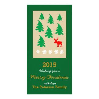Joyeux Noël, flocon de neige de renne d'arbre de Photocarte Personnalisée