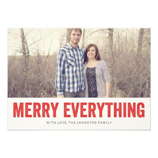Joyeux rouge tout cartes plates de photo de Noël Invitation Personnalisée
