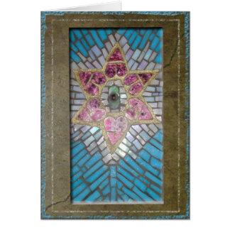 Judaika: Buntglas-Mosaik-Herz-Davidsstern Karte