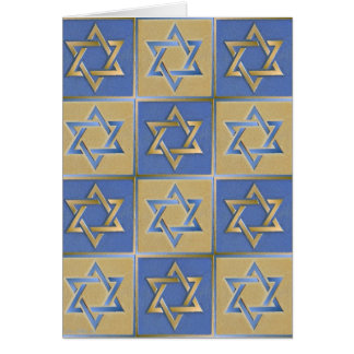 Judaika-Davidsstern Metallgoldblau Karte