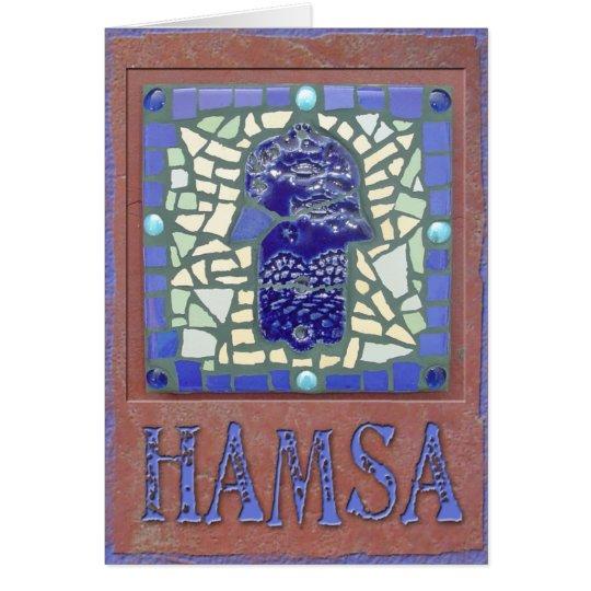 Judaika: Mosaik glühendes Hamsa Grußkarte