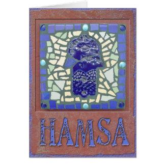 Judaika: Mosaik glühendes Hamsa Karte