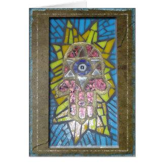 Judaika: Mosaik glühendes Hamsa w/Star von David Karte