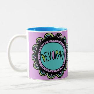 Jüdische Geschenk-Kaffee Tasse-Devorah Zweifarbige Tasse